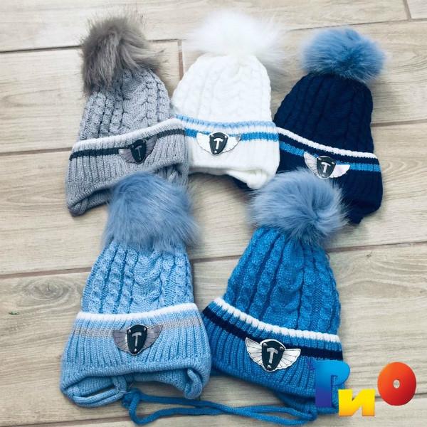 Детская вязанная шапочка на флисе, для мальчиков р-р 38-40 (5 ед в уп) NA_715095