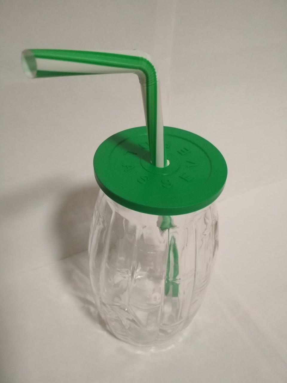 Стакан банка стеклянный для коктейлей 500 мл с зеленой пластиковой крышкой и трубочкой Bamboo UniGlass