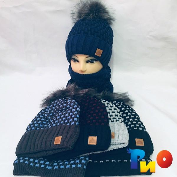 Детская вязаная шапочка с хомутом, на флисе, для мальчиков р-р 52-54 (5 ед в уп) NA_111105