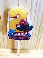 """Свічки (5см) цифри з картинкою """"Людина Павук / Spider-Man""""- 2"""