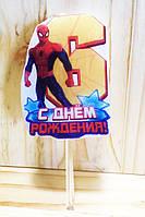 """Свічки (5см) цифри з картинкою """"Людина Павук / Spider-Man""""- 6"""