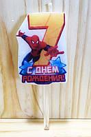 """Свечи (5см) цифры с картинкой """"Человек Паук / Spider-Man""""- 7"""