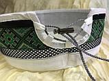 Талибанка-тюбетейка-феска лён светло серая с зелёным орнаментом, фото 4