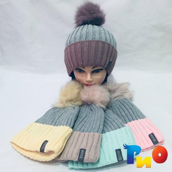Детская вязанная шапочка на флисе, для девочек р-р 52-54 (5 ед в уп) NA_А8100