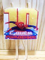 """Свічки (5см) цифри з картинкою """"Людина Павук / Spider-Man""""- 10"""