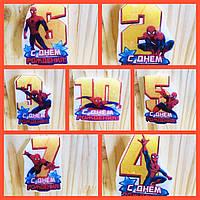 """Свечи (5см) цифры с картинкой """"Человек Паук / Spider-Man""""-"""