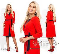 Двухцветное платье женское с поясом - Красный, фото 1