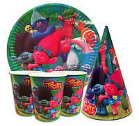 """Набор для детского дня рождения """" Тролли """". Тарелки -10 шт. Стаканчики - 10 шт. Колпачки - 10 шт"""