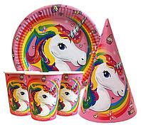 """Набор для детского дня рождения """" Единорог """". Тарелки -10 шт. Стаканчики - 10 шт. Колпачки - 10 шт."""