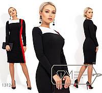 Платье декорировано пуговицами - Черный, фото 1
