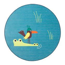 ИКЕА (IKEA) DJUNGELSKOG, 203.937.61, Ковер, безворсовый, птица, синий, 100 см
