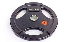 Блины (диски) обрезиненные с хватом с метал.втулкой отв. d-51мм Z-HIT 15кг (черный)
