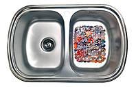 Кухонная стальная мойка с 2 чашами и ковриком (77*49*18 cм) Galati Vayorika 2C Textură 8490