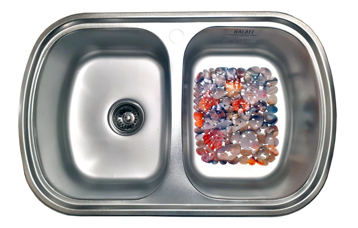 Кухонная мойка 2 х секционная с ковриком (77*49*18 cм) Galati Vayorika 2C Satin 8489
