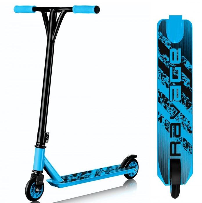 Самокат трюковый с алюминиевой рамой для детей, юношей и взрослых SportVida Ravage, цвет - черный-голубой