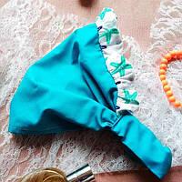 Детская хлопковая косынка на резинке бирюзовая в морском стиле.