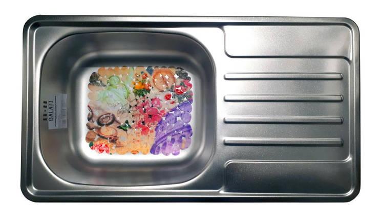 Прямоугольная мойка на кухню из нержавеющей стали (78х43,5х17 см) Galati Milana Satin 8493, фото 2