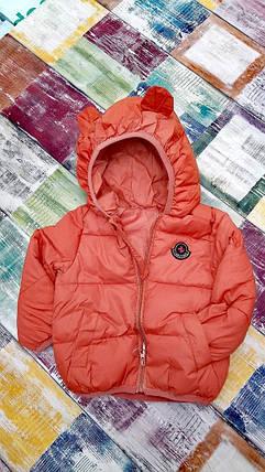 Куртка детская демисезонная коричневая  с ушками осень-весна  на 1-5 лет, фото 2