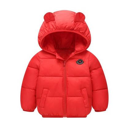 Куртка детская демисезонная красная с ушками осень-весна  на 1-5 лет, фото 2