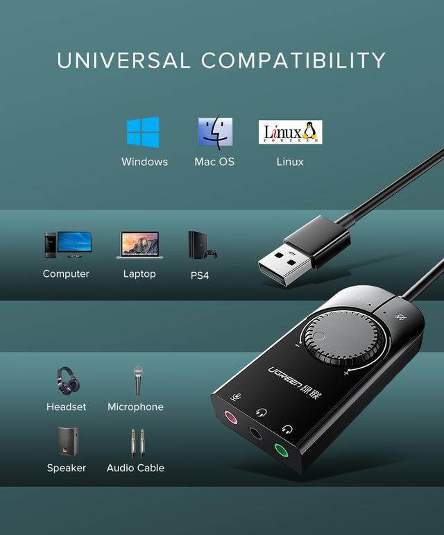 Ugreen Внешняя звуковая карта Stereo Sound Adapter USB 2.0 c регулятором громкости CM129 30394 Черная