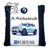 Подушка в машину з логотипом, держномером, будь-який колір, Під замовлення, ручна робота 35 на 35 см