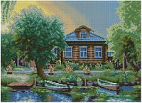 Набор для вышивки крестом Дом у реки. Размер: 28,5*20,5 см