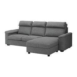 ИКЕА (IKEA) LIDHULT, 392.660.94, Трехместный диван-кровать, с шезлонгом, Лейде серо-черный