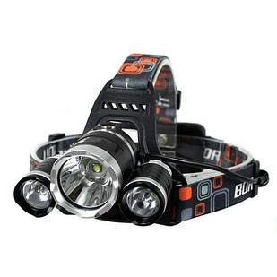 Фонарик налобный Bailong 3 LED лампы  RJ 3000 T6 Черный (006142)