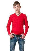 Мужской однотонный реглан с V-образным вырезом, простого кроя по фигуре с длинным рукавом, красный