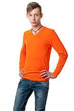 Мужской однотонный реглан с V-образным вырезом, простого кроя по фигуре с длинным рукавом, оранжевый