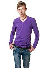 Мужской однотонный реглан с V-образным вырезом, простого кроя по фигуре с длинным рукавом, фиолетовый