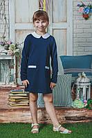 Школьное платье для девочки синее, фото 1