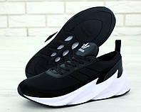 Мужские кроссовки в стиле Adidas Sharks черные с белым (ТОП реплика)