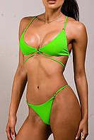 Купальник раздельный на завязках, бикини, плавки на регуляторах ,треугольная чашка,зеленый неоновый