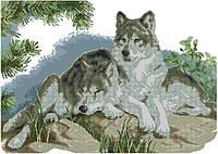 Набор для вышивки крестом Волки отдыхают в лесу. Размер: 49*35 см
