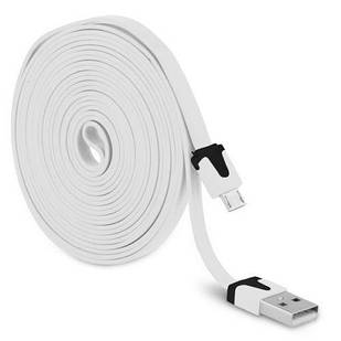 Кабель USB - microUSB 1 м flat плоский White (004356)