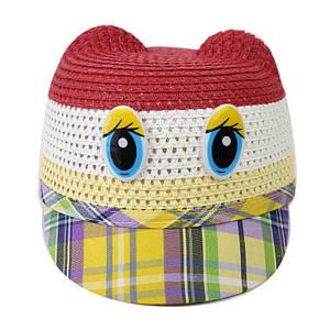 Детская летняя шляпка с козырьком на застежке красная 150224