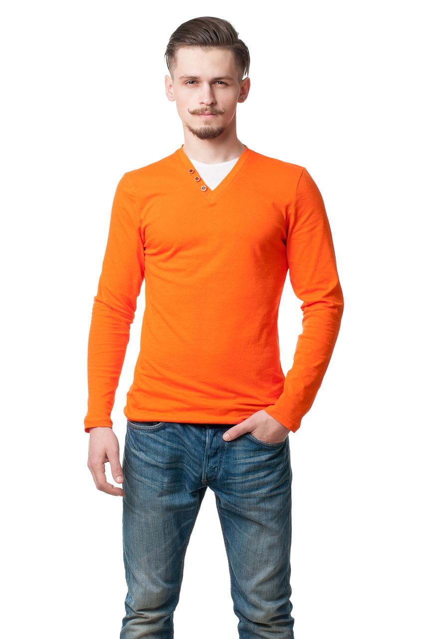 Мужской реглан приталенного силуэта, с оригинально оформленной горловиной, оранжевый