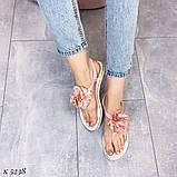 Только на 24 см! Босоножки женские розовые - пудра с цветком силикон, фото 2