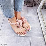 Только на 24 см! Босоножки женские розовые - пудра с цветком силикон, фото 5
