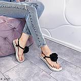 Тільки 41 р! Босоніжки жіночі чорні з квіткою силікон, фото 3