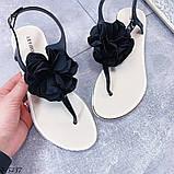 Тільки 41 р! Босоніжки жіночі чорні з квіткою силікон, фото 4