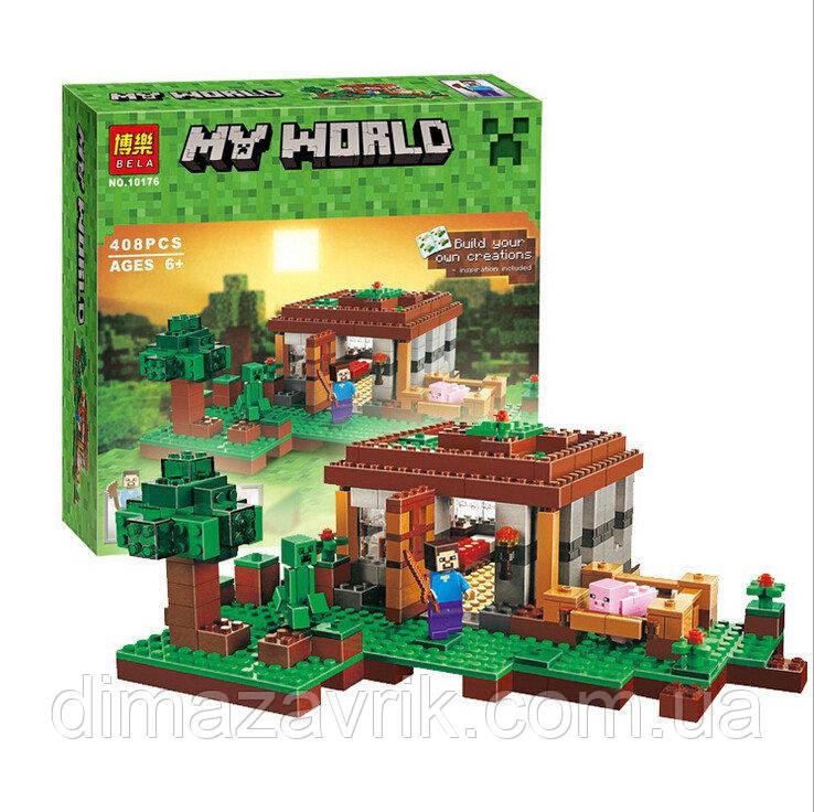 """Конструктор Bela 10176 (Аналог Lego Minecraft 21115) """"Первая Ночь"""" 408 деталей"""