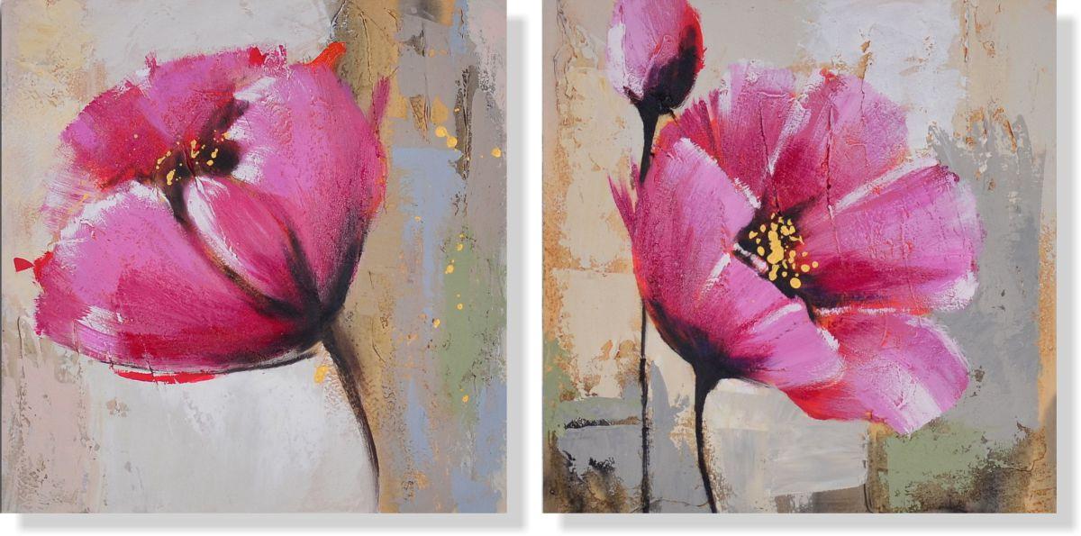 Репродукция модульной картины диптих «Розовые маки»