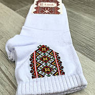 Шкарпетки жіночі демісезонні х/б Класік вишиванка, біло-червоні, фото 2