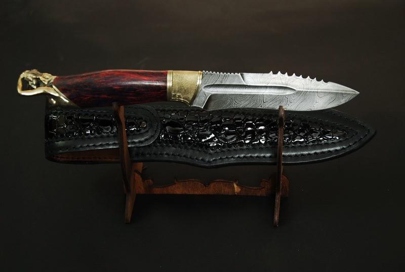 """Нож охотничий ручной работы """"From dusk to dawn"""", из дамаска и карельской берёзы"""