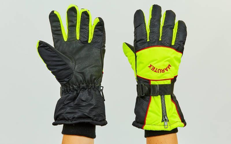 Перчатки горнолыжные теплые черно-лимонные AZL-7