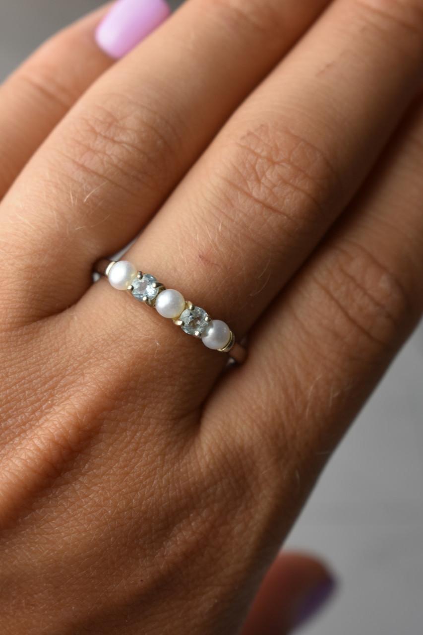 Серебряное кольцо с Жемчугом и Топазами
