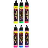 Контурная краска с глитером ЗD-гель 25мл Santi Liquid neon gel 7412**_желтый