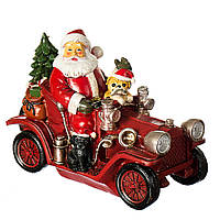 "Фигурка ""Дед Мороз на машине"" (11*22*18 см) светящаяся, 004UW"